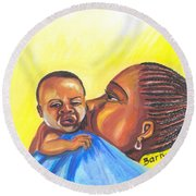 The Kiss Of A Mother In Senegal Round Beach Towel
