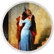 The Kiss Of Hayez Revisited Round Beach Towel