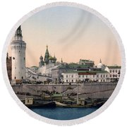 The Kremlin Towards The Place Rouge In Moscow - Russia - Ca 1900 Round Beach Towel