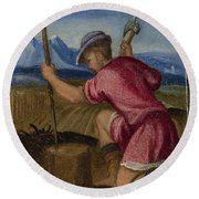 The Labours Of The Months   February Round Beach Towel