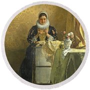 The Lace Maker  Round Beach Towel