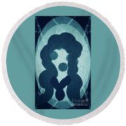 The Lady In The Mirror Round Beach Towel