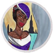 The Lady Of The City Round Beach Towel