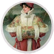 The Lady Of The Snows Round Beach Towel