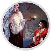 The Lady With The Lamp, Florence Round Beach Towel by Science Source