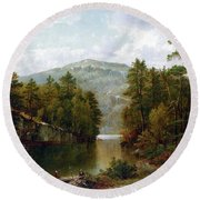 The Lake George Round Beach Towel by David Johnson