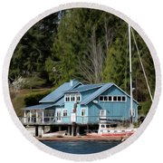 The Lake House - Digital Oil Round Beach Towel