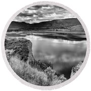 The Lake In Black And White Round Beach Towel