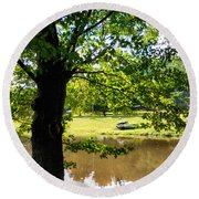 The Lake In The Park Round Beach Towel