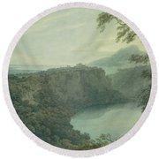 The Lake Of Nemi And The Town Of Genzano Round Beach Towel