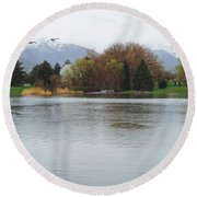 The Lake View  Round Beach Towel