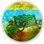 The Lakeview Bench Round Beach Towel