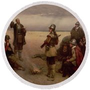 The Landing Of The Pilgrim Fathers Round Beach Towel