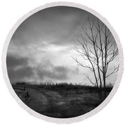 The Last Dawn - Grayscale Round Beach Towel