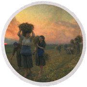 The Last Gleanings Round Beach Towel by Jules Breton