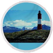 The Last Lighthouse ... Round Beach Towel