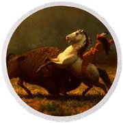 The Last Of The Buffalo Round Beach Towel by Albert Bierstadt