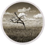 The Last One Standing - Sepia Round Beach Towel
