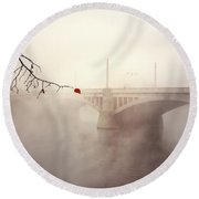 The Last Red Leaf Round Beach Towel