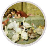 The Last Spoonful Round Beach Towel by Briton Riviere