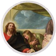 The Last Supper Round Beach Towel by Benjamin West