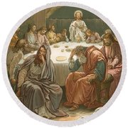The Last Supper Round Beach Towel by John Lawson