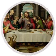 The Last Supper Round Beach Towel by Vicente Juan Macip