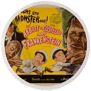 The Laughs Are Monsterous Abott An Costello Meet Frankenstein Classic Movie Poster Round Beach Towel
