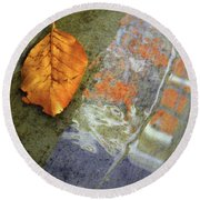 The Leaf And The Reflections Round Beach Towel