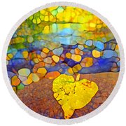 The Leaf At The Creek Round Beach Towel