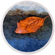 The Leaf On The Stairs Round Beach Towel