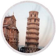The Leaning Tower Of Pisa Round Beach Towel