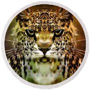 The Leopard Of The Temple  Round Beach Towel