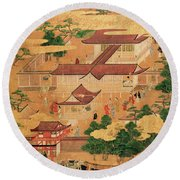 The Life And Pastimes Of The Japanese Court - Tosa School - Edo Period Round Beach Towel