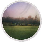 The Lifting Of Morning Fog Round Beach Towel