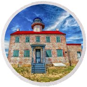 The Light At East Point Round Beach Towel