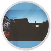 The Light In The Window Round Beach Towel