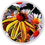 The Light Within The Flowers Round Beach Towel