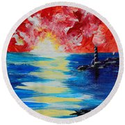 The Lighthouse Round Beach Towel