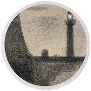 The Lighthouse At Honfleur Round Beach Towel