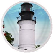 The Lighthouse At Key West Florida Round Beach Towel