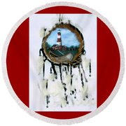 The Assateague Lighthouse Round Beach Towel