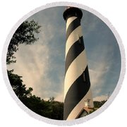 The Lighthouse In St.augustin Fl Round Beach Towel