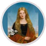 The Lily. Portrait Of Miss Bury Round Beach Towel