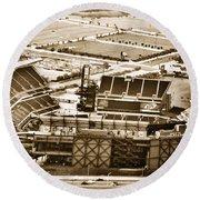 The Linc - Aerial View Round Beach Towel