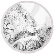 The Lion And The Lamb Round Beach Towel