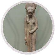 The Lion Goddess Sekhmet. Round Beach Towel