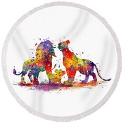The Lion King Family Round Beach Towel