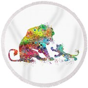 The Lion King Mufasa And Simba Watercolor Art Print Round Beach Towel