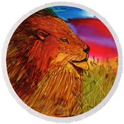 The Lion King Of Massai Mara Round Beach Towel